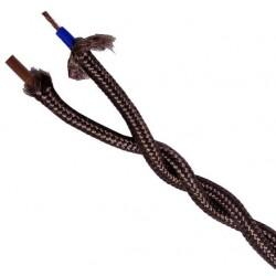 Cable Trenzado Algodón 2x0 75mm Marrón  Mt